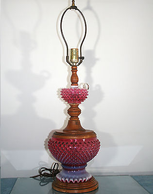 Unusual Vintage Fenton Cranberry Hobnail Glass with Wood Lamp base Lot 1