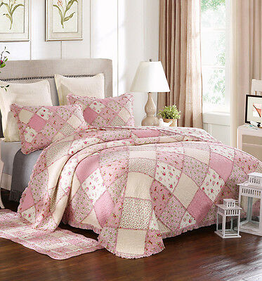 Quality Queen Lovely Waffle Patchwork Quilted Coverlet/BedSpreads 3Pc Set - Pink