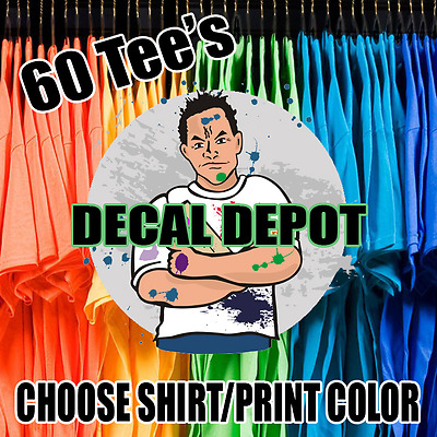 60 Custom Screen Printed T-Shirts Your Logo Any Color Tshirt 1 Side 1 Color Ink