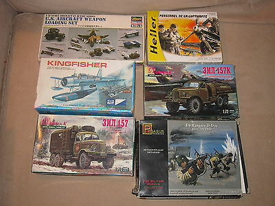 6x 1:72 Scale Plastic Model Kits Hasegawa Weapons, Rangers, Heller, Omega, MPC