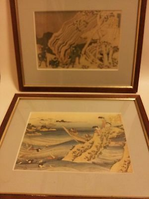 2x genuine japanese antique prints hokusai style 1800s framed fishing hunting