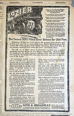 1911 New York Newspaper Lozier Ad - Ralph Mulford 1st Indianapolis 500 Race