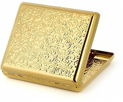 Pure Copper Embossed Arabesque Metal Cigarette Case Cardcase For 100's (Gold)