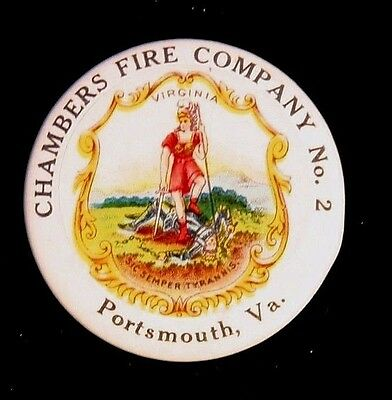 Early 1900's Chambers Fire Company No. 2 Portsmouth, VA  Dept Fireman Pinback FD