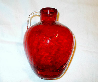 "Vintage Red Blown Crackle Glass Vase Pitcher 6 1/2"" Tall"