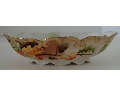 Antique Vienna Hand Painted China Oak Leaf & Acorn Hand Painted Oval Bowl