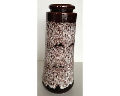Mid Century Modern 1970s Scheurich West German Pottery Brown Cream Lava Vase