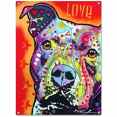 Thoughtful Pit Bull Dog Dean Russo Metal Sign 12 x 16, New