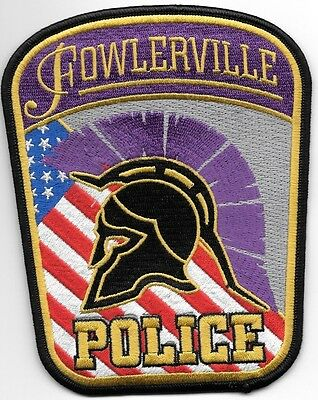 "Fowlerville, MI (4.5"" x 5.5"" size) shoulder police patch (fire)"