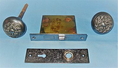 Antique Russell & Erwin Mortise Door 4-Pc Lock Set Faceplate Knobs Backplate