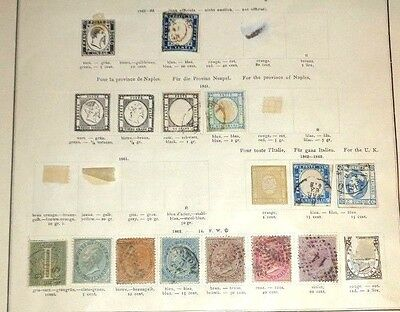 lot early Italy stamp mint used hinged to 19th C album pages