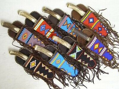 "9.25"" Native American Algonquin Made & Designed Beaded Fringed Sheath & Knife"