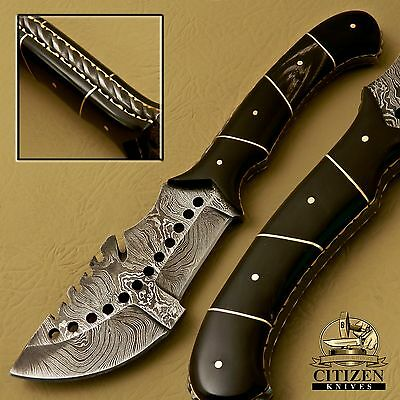 Beautiful Custom Hand Made Damascus Steel Hunting Tracker Knife Handle Bull Horn