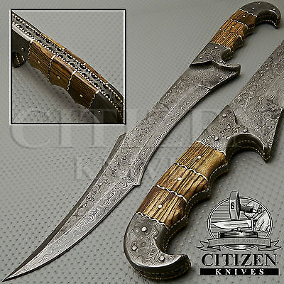 Beautiful Custom Hand Made Full Tang Damascus Steel Hunting Bowie Sword Knife
