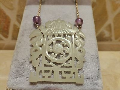 Vintage 14k gold carved jade amethyst necklace bracelet set yin yang Chinese