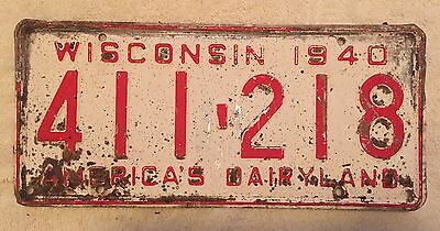 Good Solid Vintage 1940 Wisconsin License Plate Free Shipping