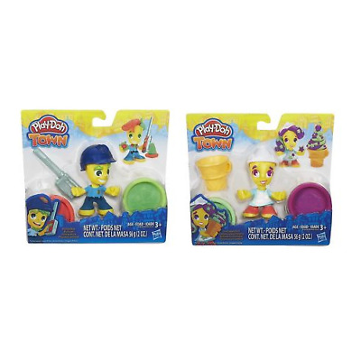HASBRO PLAY DOH TOWN ICE CREAM AND  POLICE BOY Playdoh Figure set