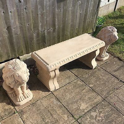 Two Stone Stunning Lion Garden Ornament Statues And Bench