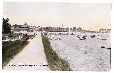 Early Postcard,Suffolk, Woodbridge, Promenade @ Bandstand, Old Boats, Nice View