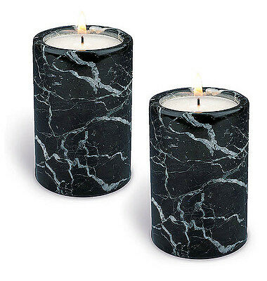 "PAIR 3"" BLACK MARBLE PILLAR TEALIGHT CANDLE HOLDERS Beautiful Home Decor Gift"