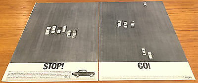 Vintage '60s Print Car Advertising Volvo 122S 2 Page Ad Stop! Go!