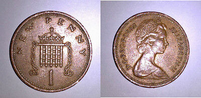 1971 ONE NEW PENNY COIN - UK (GREAT BRITAIN) Circulated - Free CDN Shipping!
