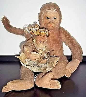 Antique Mohair Momma Monkey & Baby Merrythought ENGLAND 1930's