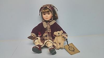 Boyds Yesterdays Child Collection KELLIE Porcelain Doll with Teddy Bear & Book