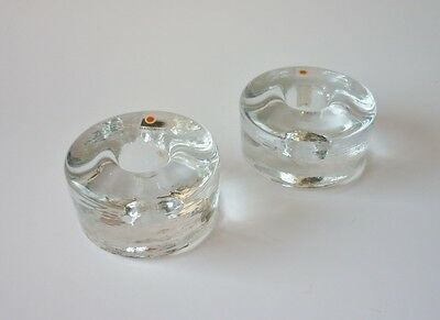 Vintage BLENKO Clear Glass Candle Holders - Set of 2