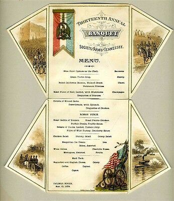 1879 Palmer House 13th Annual Banquet Menu Society of the Army of Tennessee