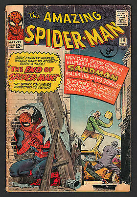 Amazing Spiderman 18 Marvel 1964 1st Ned Leeds SANDMAN Steve Ditko UNRESTORED