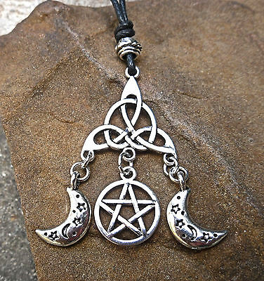 Triple Moon Goddess Pendant Cord Necklace Pentacle Star Triquetra Wicca Pagan