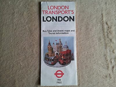 london transport route map. Bus, Tube + Street 1983 Used but good FREE POSTAGE