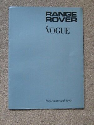 Rare To Find    Range Rover In Vogue  Brochure