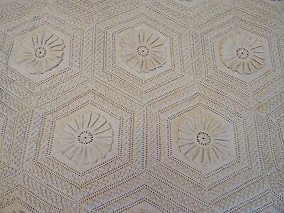 "Antique Off-White Crocheted Floral Hexagon Bedspread 84"" x 92"""