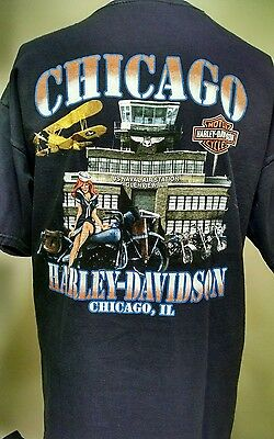 Harley-Davidson T-Shirt XL Chicago, IL US Naval Air Station Glenview, IL