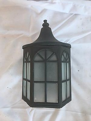 Vtg Arts Crafts  Copper  Porch Sconce Old Light Fixture Arch glass 28-17J