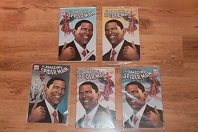 The Amazing Spiderman 583 Obama Variant Edition 5 Comic Books 1st to 5th rated A