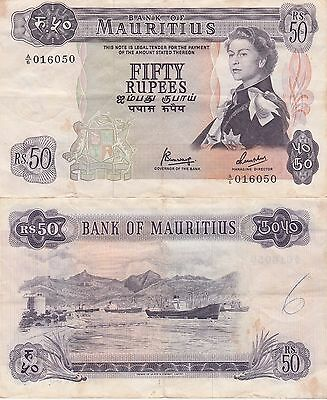 Mauritius 50 Rupees Banknote,(1967) Very Fine Condition Cat#33-C-6050