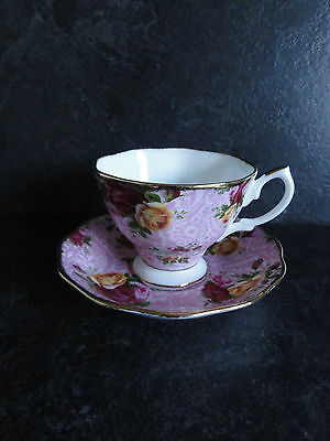 Royal Albert Old Country Rose Dusky Pink Lace Tea Cup & Saucer