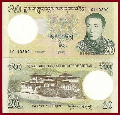 Bhutan P30, 20 Ngultrum, Palace / youngest monarch King Wangchuk, $4CV 2006 UNC