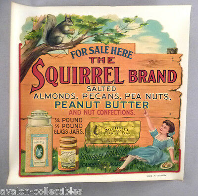 Squirrel Brand WINDOW SIGN - c. 1900 ~~ peanut butter, nut candy bar, pea nuts