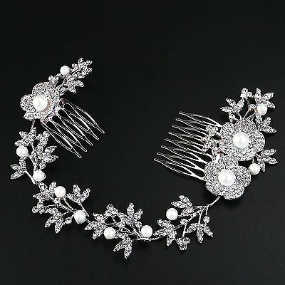 Tinksky Wedding Bridal Headpiece Hair Comb Pearl Crystal Flower Leaf Hair Clip