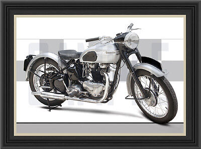 Triumph T100 (1951) Motorcycle Print /  Motorcycle Poster
