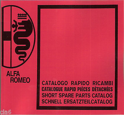 Alfa Romeo Series 105 115 Guilia Berlina Coupe Spider Parts Book - 6/74 *NEW