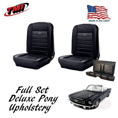 1964-66 Mustang Convertible Front & Rear Deluxe PONY Upholstery, Black, IN STOCK