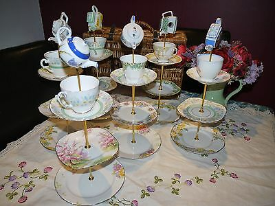 Job Lot of 6 Quirky  Vintage pastel art deco mad hatter cake stands