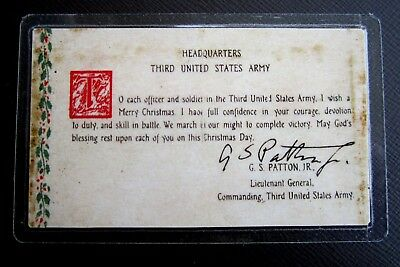 "GEN. GEORGE PATTON'S ""3RD ARMY PRAYER"" - CHRISTMAS 1944 with AUTOGRAPH"