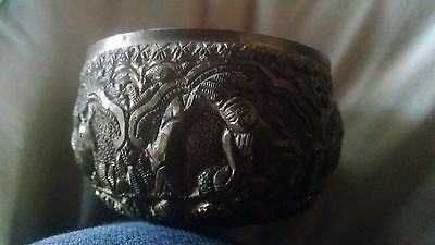 Old Carved Solid Brass Bowl - Singing Bowl - India ? - Beautifully Made! VINTAGE