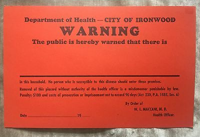 Vintage Dept. of Health Ironwood MI Warning Sign Quarantine Medicine Medical